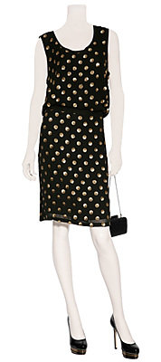 Suno - Black Sequined Polka Dot Silk Dress