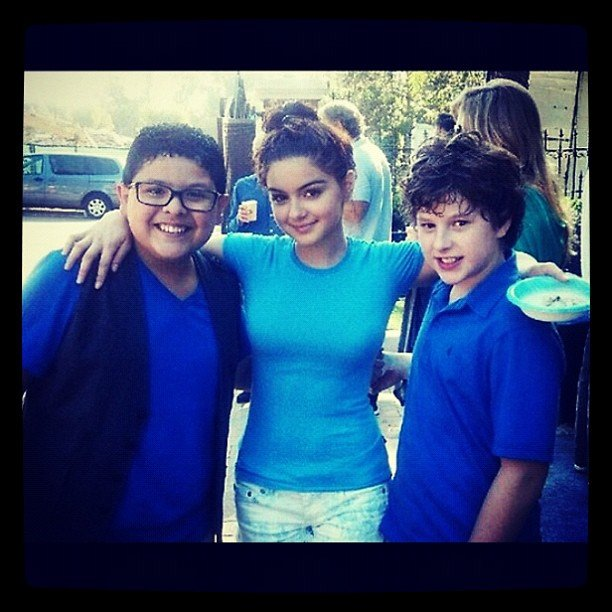 Ariel Winter chilled with her Modern Family members Nolan Gould and Rico Rodriguez. Source: Instagram user arielwinter