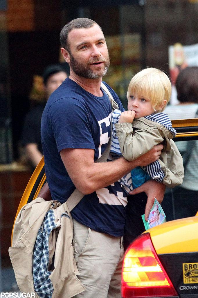 Liev Schreiber gave his youngest son, Kai Schreiber, a lift.