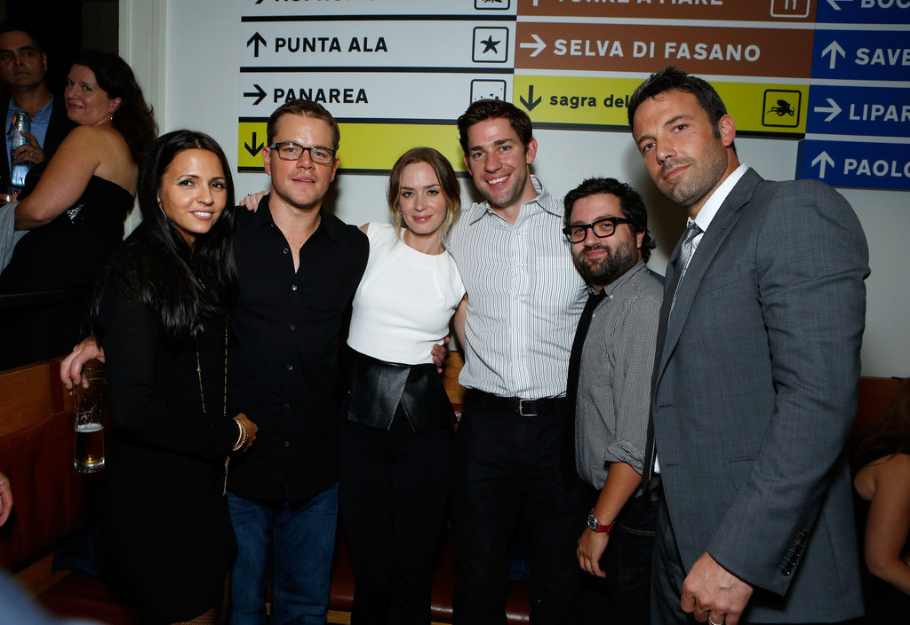 Matt Damon and wife Luciana Damon along with Emily Blunt, John Krasiknski, and Mike Sabione supported pal Ben Affleck for his TIFF Argo premiere in September 2012.