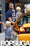 Liev Schreiber spent the day in NYC with his boys, Sasha and Kai Schreiber.