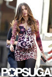 Sofia Vergara strutted her stuff in a tight leopard-print dress while sporting a baby bump.