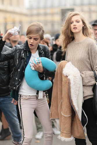 Cara Delevingne and Lindsey Wixson showed off their model antics off the runway.
