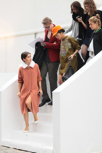 Miroslava Duma led a stylish pack outside of the shows.