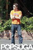 Olivier Martinez rocked an orange t-shirt and jeans.