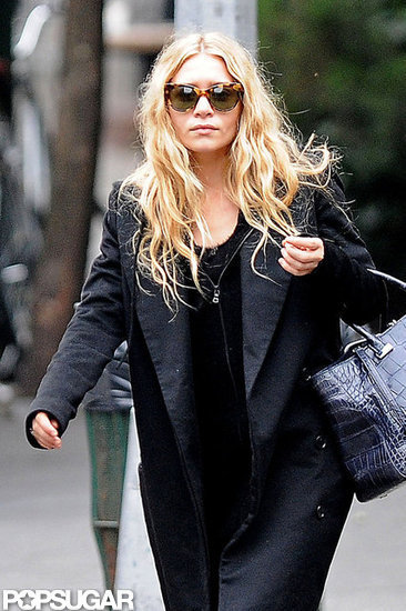 Ashley Olsen wore oversize sunglasses and a black coat while walking in NYC.