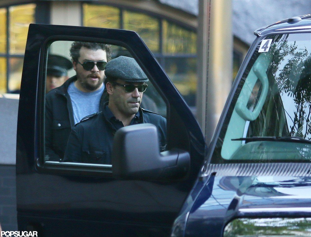 Jon Hamm shared a ride to work with Kate Hudson.