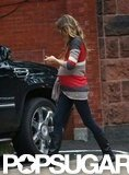 Gisele Bündchen's baby bump was visible under her striped sweater in Boston.