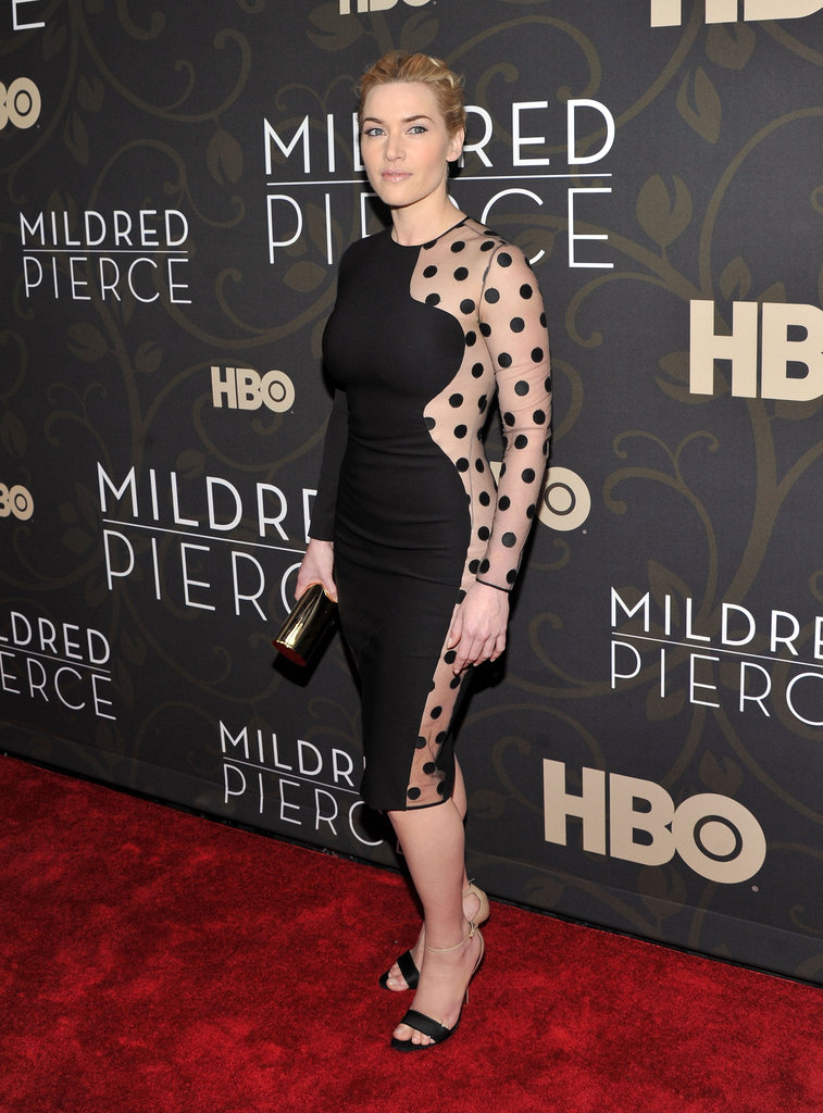 Kate looked gorgeous at the Mildred Pierce premiere in March 2011, wearing a polka-dot print, sheer-panel dress from Stella McCartney.