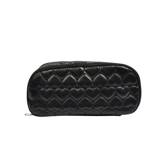Black Quilted Cosmetics Bag in Hearts, $6.95
