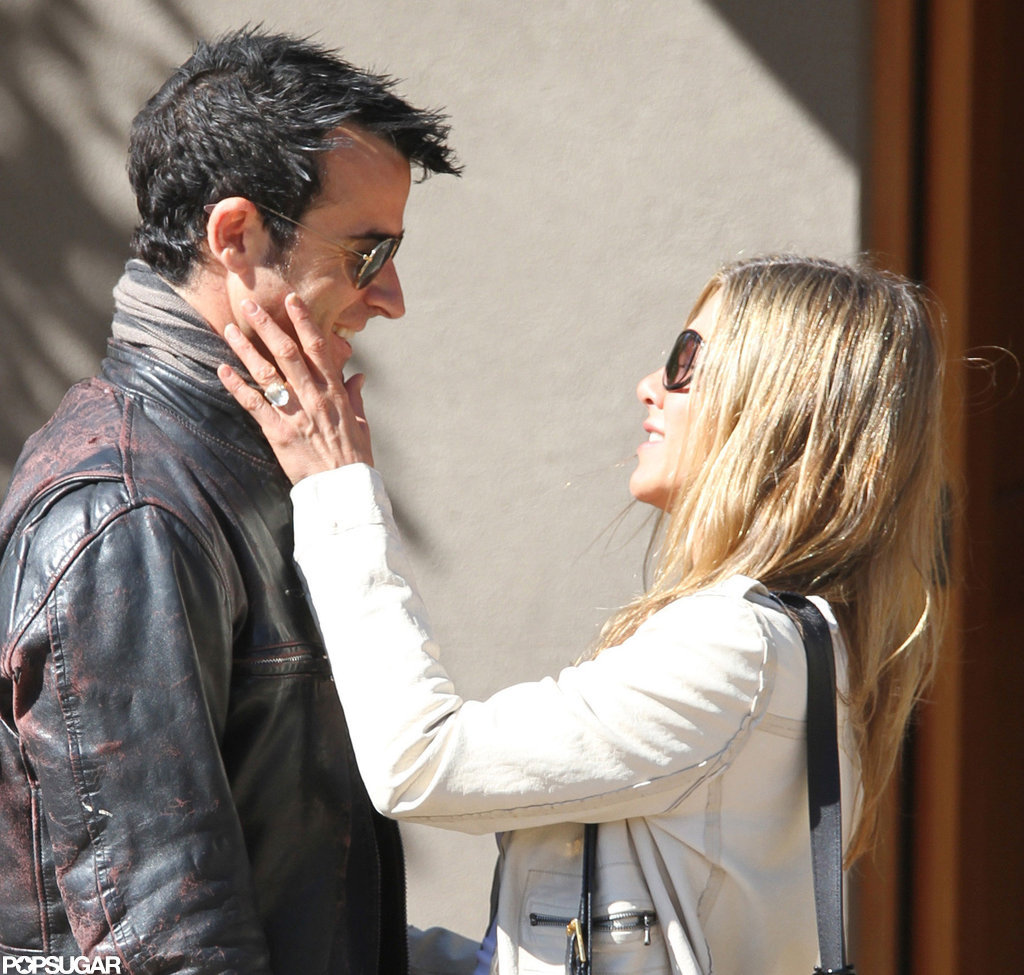 Jennifer Aniston and Justin Theroux shared a moment.