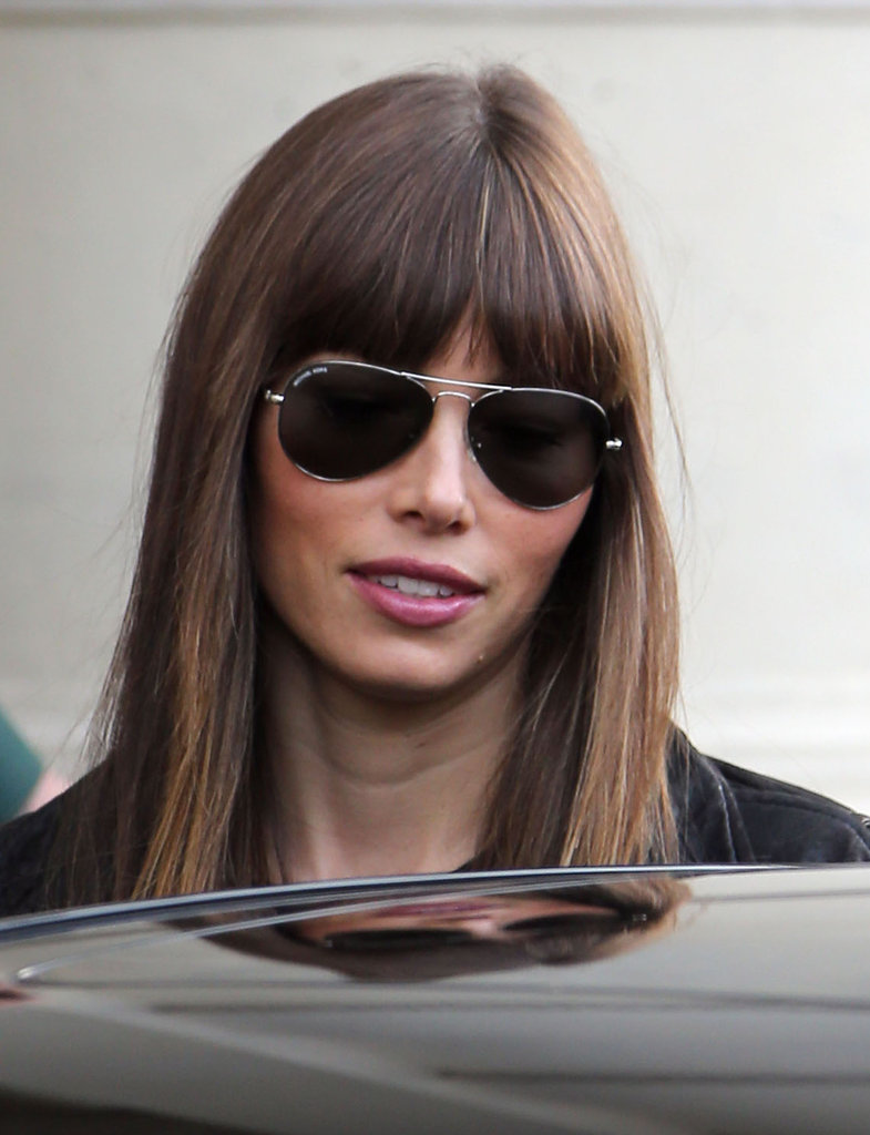 Jessica Biel wore aviators for a shopping day in Paris.