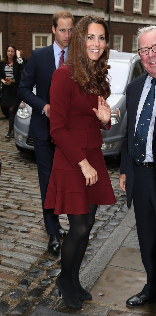 Kate Middleton waved as she arrived.