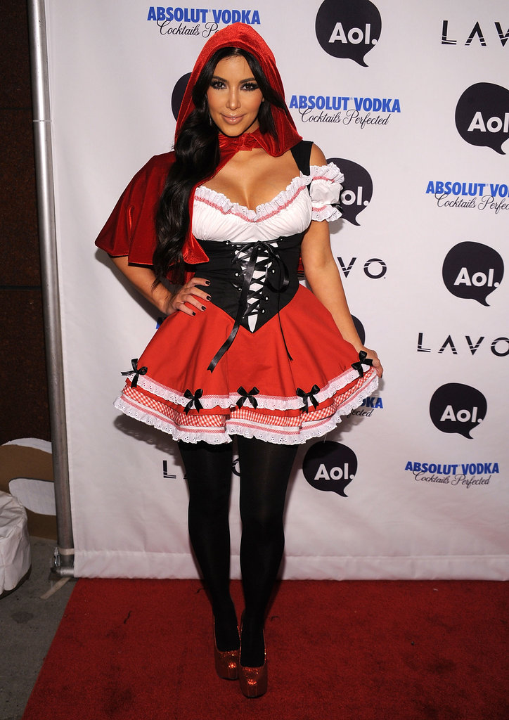 Kim Kardashian channeled Little Red Riding Hood at Heidi Klum's infamous Halloween party in 2010.