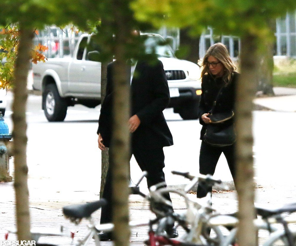 Jennifer Aniston headed toward a building in Boston.