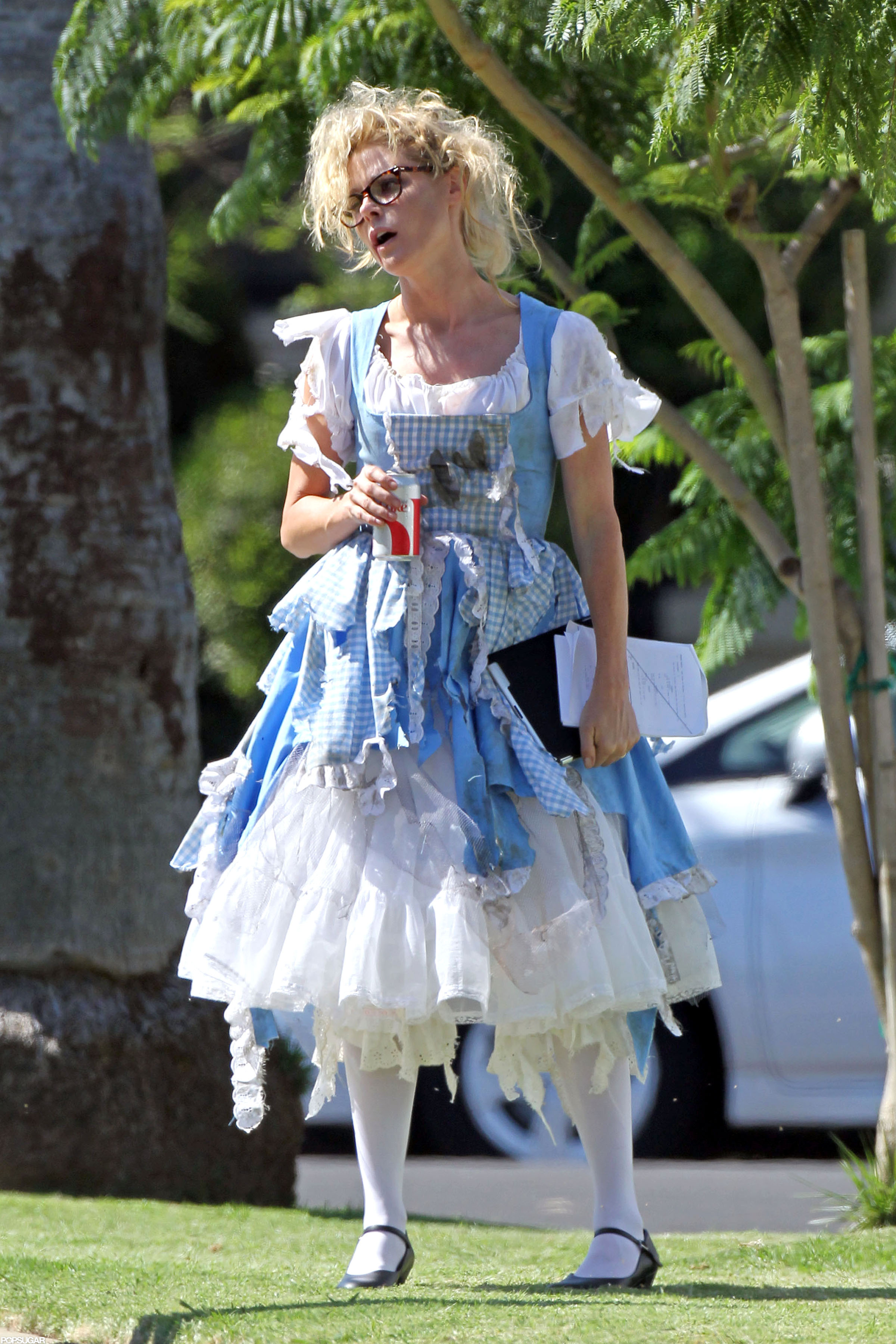 Julie Bowen got a head start on Halloween fun in a costume on the set of Modern Family in LA.