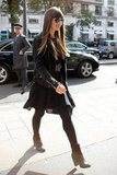 Jessica Biel wore a black dress with a leather jacket.