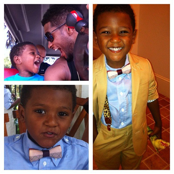 Usher shared sweet photos of himself and his well-dressed boys, Usher V and Naviyd, on Father's Day in 2012. Source: Instagram user howuseeit