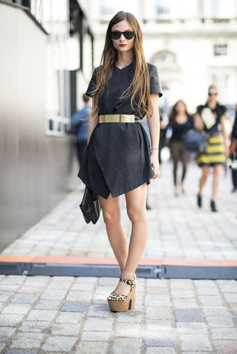Take on an LBD update with leather details, and then add even more impact with an eye-catching gold belt at the waist. Switch out the platforms for booties, and you've got a no-fail Fall style. Source: Adam Katz Sinding