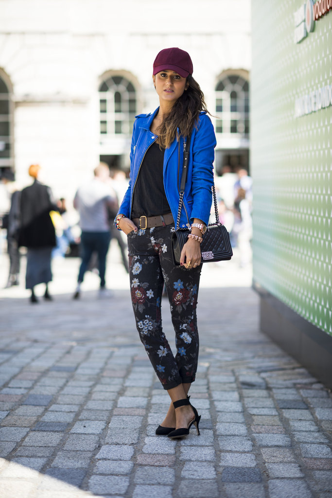 Give your trouser routine a lift with a printed pair of pants — extra points for a bold topper, like this brilliant blue leather one. Source: Adam Katz Sinding