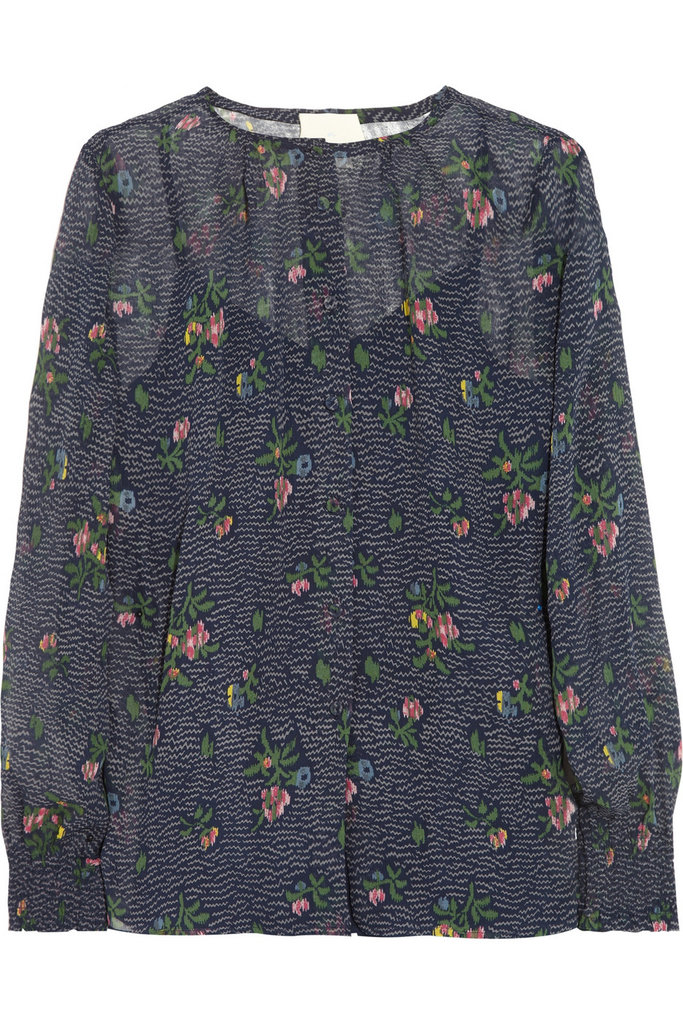 This Girl. by Band of Outsiders Printed Silk-Chiffon Blouse ($295) gives us the prettiest kind of florals to dress up with a leather skirt and tights or down with boyfriend jeans and lace-up booties.