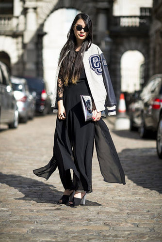Anchor a sheer maxi look with this season's favorite topper, a cool-girl varsity jacket that lends warmth and old-school charm. Source: Adam Katz Sinding