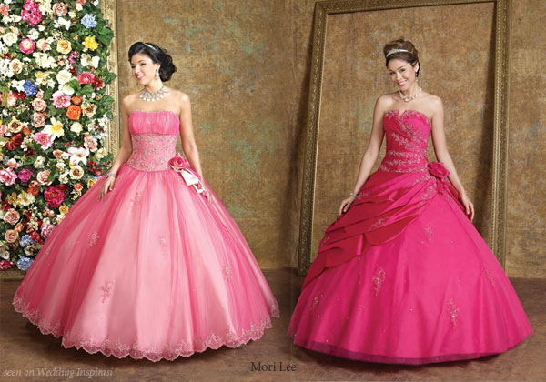 hot pink satin wedding dresses
