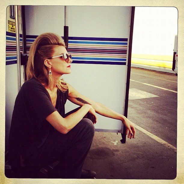 Eliza Coupe shared a shot of her slick 'do on the set of Happy Endings. Source: Instagram user elizamuthafuckincoupe