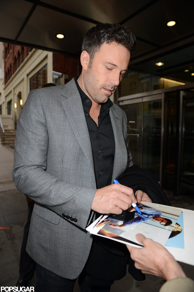 Ben Affleck signed an autograph outside the studio.