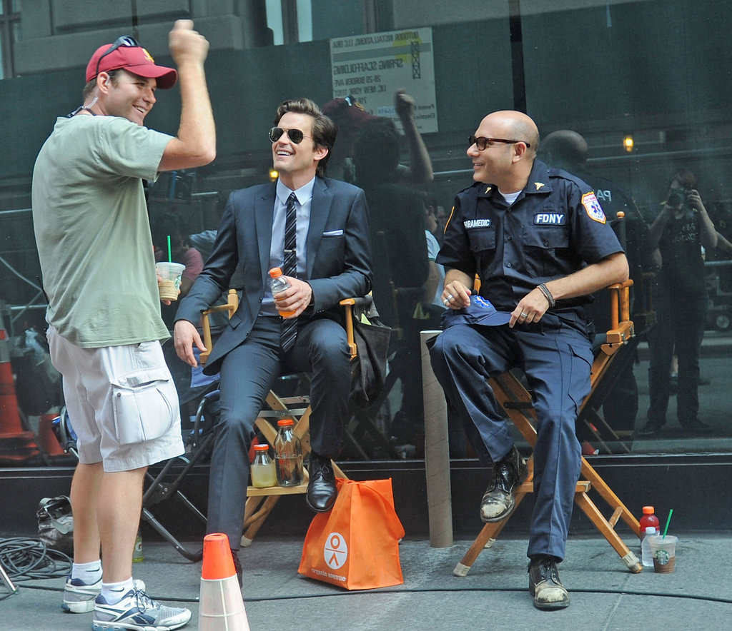 Matt Bomer shared a laugh with costar Willie Garson in August 2011 on the NYC set of White Collar.
