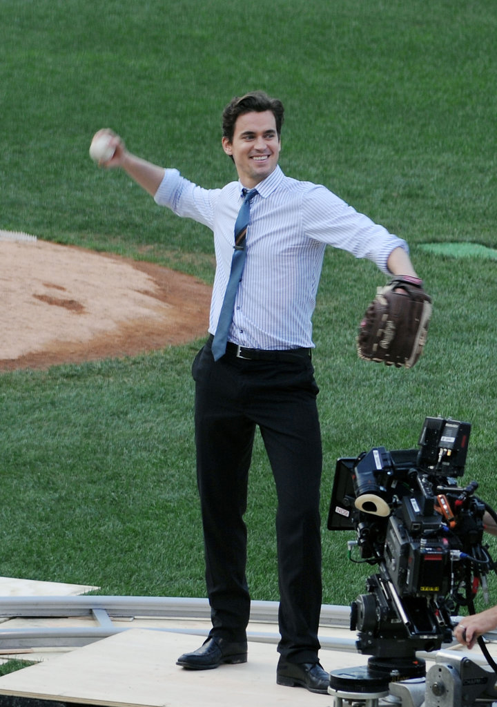 Matt Bomer warmed up his arm on the NYC set of White Collar in August 2011.