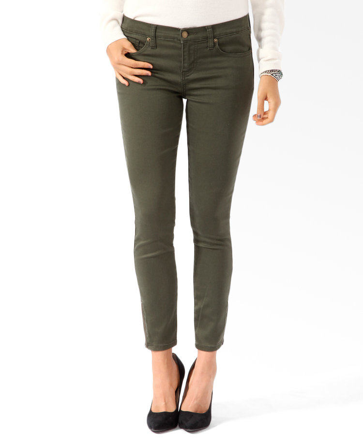 We couldn't believe the price of these Forever 21 Zippered Denim Skinnies ($16) — the olive hue is so on-trend with Fall's military-chic look.
