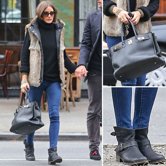 Olivia Palermo Wearing Fur Vest in NYC