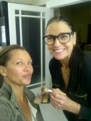 666 Park Avenue's Vanessa Williams got a little help from her makeup artist before shooting a scene. Source: Twitter user VWOfficial