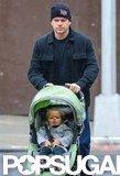 Matt Damon walked with his daughter Stella in NYC.