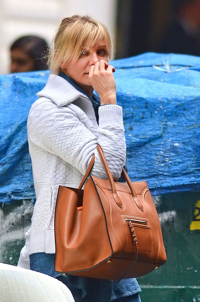 Cameron Diaz wore a brown Chloé bag in NYC.