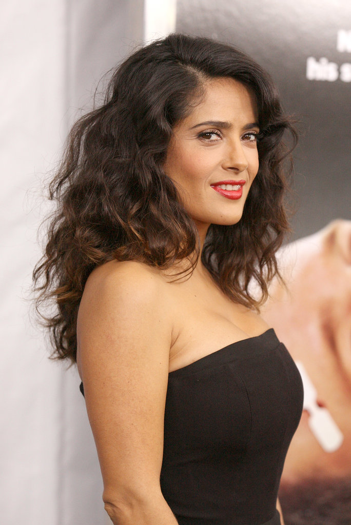 Salma Hayek wore her curls down for the event.