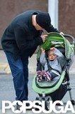 Matt Damon checked on Stella in her stroller.