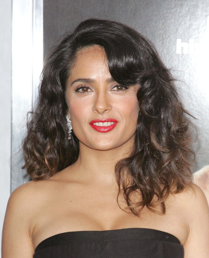 Salma Hayek rocked a red lip shade at the premiere.