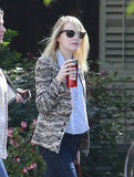 Emma Stone stepped out in LA wearing dark sunglasses.