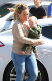 Hilary Duff and Luca Comrie spent the day in Beverly Hills.