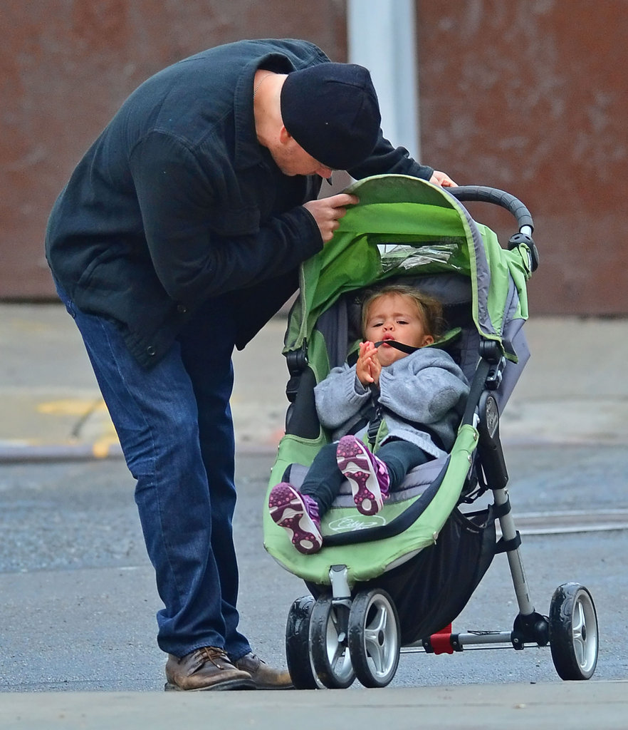 Matt Damon checked on Stella during their walk.