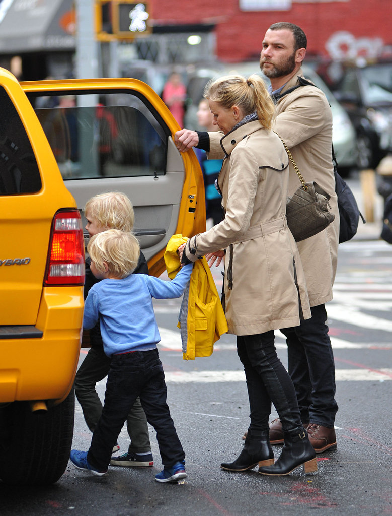 Naomi Watts and Liev Schreiber took a taxi with their sons in NYC.