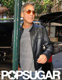 George Clooney left his hotel after spending a few days in NYC.