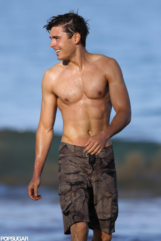 Zac Efron took a shirtless dip while visiting Maui in June 2010.