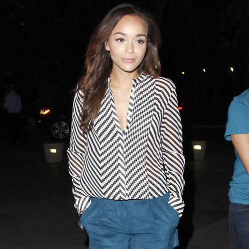 Ashley Madekwe Wearing Blue Suede Shorts