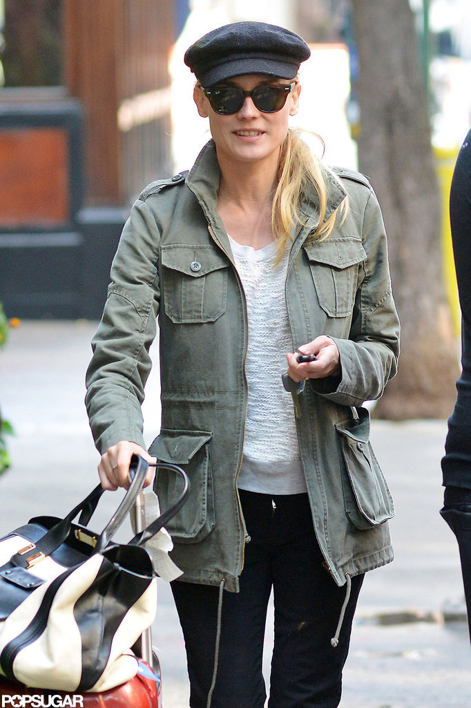 Diane Kruger wheeled her luggage to the car in NYC.