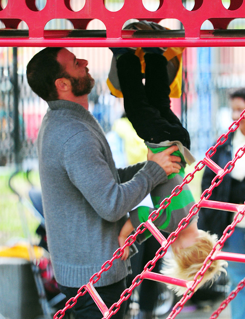 Liev Schreiber helped son Kai on the playground in NYC.