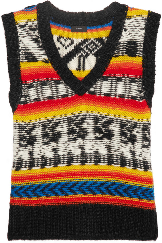Joseph's Intarsia-Print Sleeveless Sweater ($495) is a great spin on the classic sweater vest, and is an easy way to take on Fall's Peruvian trend.