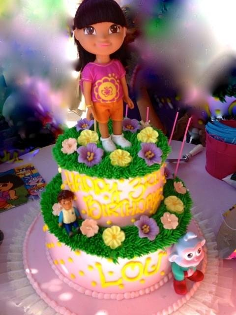 Heidi Klum snapped a great picture of lil Lou's Dora the Explorer birthday cake. Source: Twitter user HeidiKlum